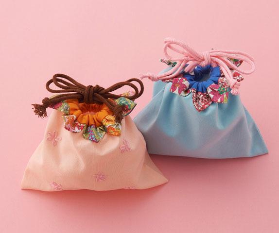 ぬい針「絆」と「つまみ細工プレート」でつくる お花の巾着袋