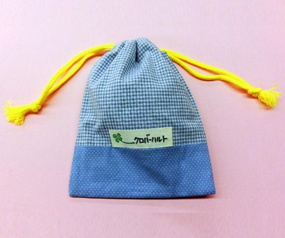 布用強力ボンド「貼り仕事」で作る 小さなきんちゃく(底布付き)