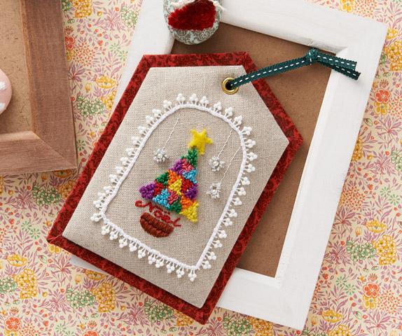 フリーステッチングニードルで作る クリスマスのミニタペストリー