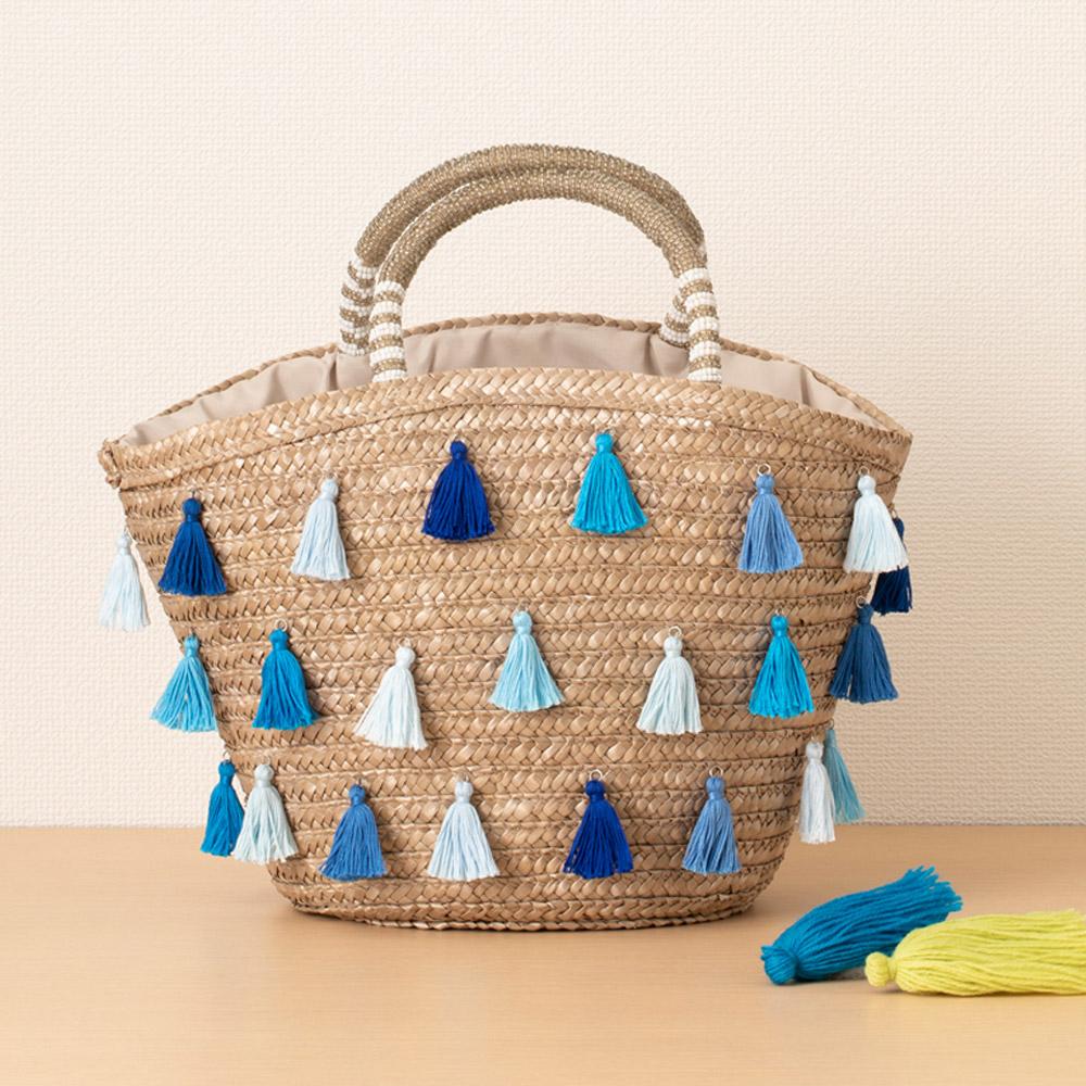 タッセルメーカーで作るデコかご いろんなブルーのタッセルバッグ