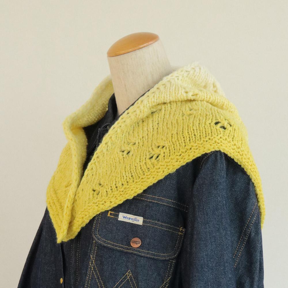 ランドスケープで編む 透かし編みの三角ショール