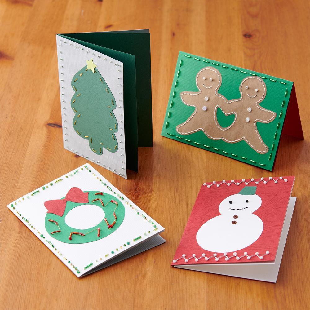 紙刺しゅうのクリスマスカード